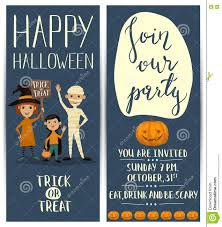 halloween costume birthday party invitations halloween party vertical flyers set with kids stock vector image