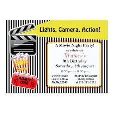movie night u2013 teen birthday invitations