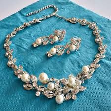 crystal pearl necklace set images Floral leaves pearl rhinestone bridal jewelry set wedding jewelry jpg