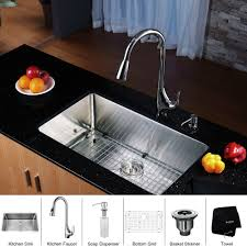 stainless steel kitchen sink combination kraususa com kraus 30 inch undermount single bowl 16 gauge stainless steel kitchen sink with kitchen faucet and