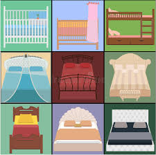 Different Types Of Beds Vector Bed Set Collection Different Types Of Beds Vector Illus