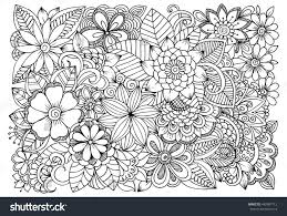 black white flower pattern coloring doodle stock vector 442487713