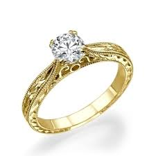 yellow gold engagement ring 1 carat diamond engraved engagement ring couplez