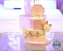 pink white gold wedding cake by calgary wedding and engagement cakes