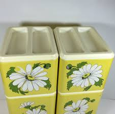 vintage metal kitchen canister set yellow w daisies from
