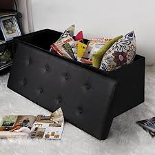 Leather Storage Ottoman Bench Leather Storage Ottoman Bench Box Foot Rest Living Room Black