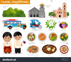 jeepney philippines art travel philippines set traditional cultural symbols stock vector