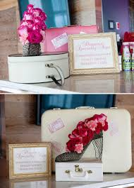Travel Decor Shayna Bat Mitzvah Table Decor Travel Suitcases Pink Flowers The