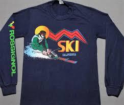 vintage 70s 80s ski california rossignol long sleeve t shirt navy