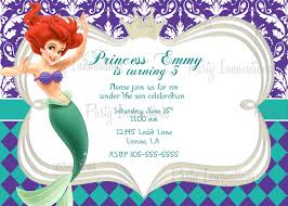 printable princess little mermaid birthday party invitation plus