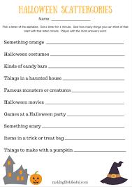 Free Printable Halloween Games Halloween Scattergories Printable Game Making Life Blissful