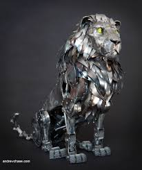 metal lion sculpture andrew s spectacular lion and wolf by 42concepts