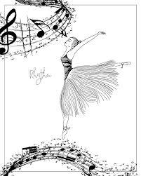 rhythm ballerina zen art coloring page