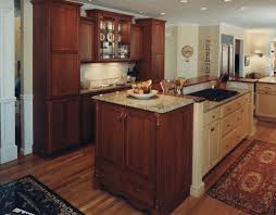 dark wood kitchen island exotic red carpet simple white ceramic plate white wooden kitchen