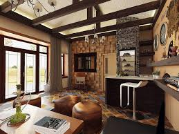 furniture minimalist country interior with small modern bar feat furniture minimalist country interior with small modern bar feat tall bar stool near brown wall shelves and round brown ottomans plus exposed wood wall