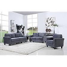 amazon com 2 piece classic linen fabric living room sofa and