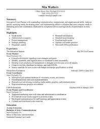 event planning resume example