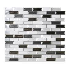 Shop Smart Tiles Pack White Linear Mosaic Composite Vinyl Wall - Vinyl backsplash tiles