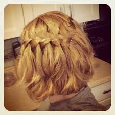waterfall braid medium length short hair honey blonde hair