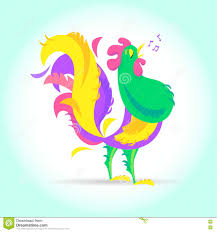 Graphic Design Holiday Cards New Year Cute Cartoon Rooster Vector Illustration Farm Bird