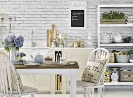revetements muraux cuisine decoration revêtement mural brique blanche cuisine shabby chic