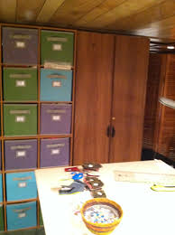 organization using closetmaid cubeicals and martha stewart fabric
