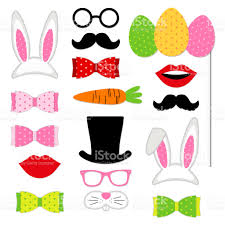 easter photo props easter photo booth props as set of party graphic elements of