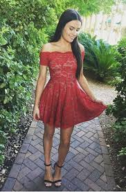 red off shoulder short lace homecoming dresses with sleeves cute