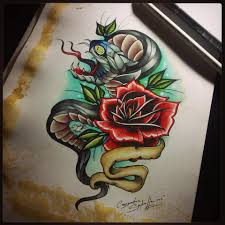 neo trad snake and rose tattoo design by cassandrawilson on deviantart