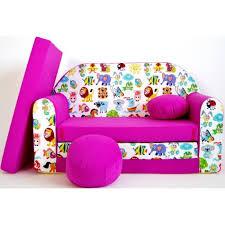 canapé enfant 2 places canapé lit enfant convertible fuchsia et animaux achat vente