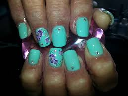 acrylic nails l green u0026 purple l nail design youtube