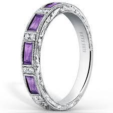 amethyst wedding rings kirk kara baguette cut purple amethyst diamond wedding band