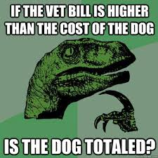 Dog Vet Meme - if the vet bill is higher than the cost of the dog is the dog