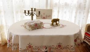 oval 140 220cm embroidery tablecloth polyester tableclothl table