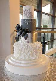 stunning grey silver white and bling wedding cake emma jayne
