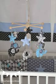 chambre mobile mobile éveil éléphant enfant bébé bleu gris noir décoration