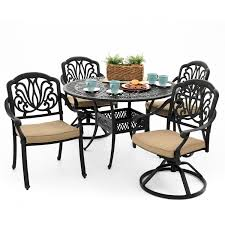 Cast Aluminum Patio Furniture Rosedown 5 Piece Cast Aluminum Patio Dining Set With 2 Swivel