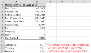 Accrual Accounting Excel Template Calculate Accrued Interest On A Bond In Excel 3 Ways Tvmcalcs Com