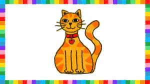 how to draw cat kids coloring page learn crayon drawing kids