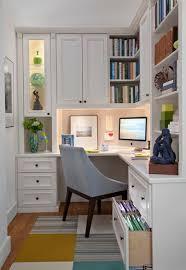 Enclosed Bookshelves Wondrous Corner White Home Office Design With Single White Desk