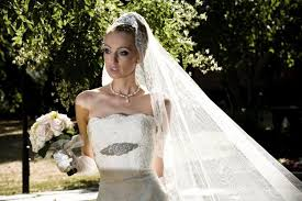 spanish style long ivory corded lace trim veil bridal veil