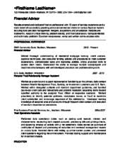 Financial Advisor Resume Example by Essay Support Services If You Need Help Writing A Paper Contact