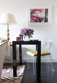 Living Room Desk Chair Black Parsons Desk With Lucite Chair Contemporary Living Room