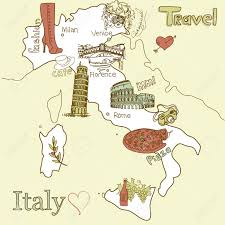 Maps Of Italy Creative Map Of Italy Sightseeing In Italy Royalty Free Cliparts