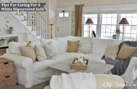Modern Slipcovered Sofa by Real Life With A White Slipcover U0026 Keeping It Pretty City Farmhouse