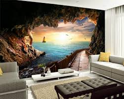 sea view living room beibehang cave sea view beautiful sunset landscape mural wallpaper