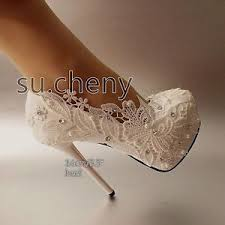 pearl lace 4 5 5 high heel white light ivory pearl lace platform wedding