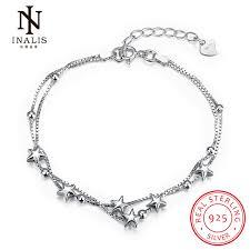 sterling silver star charm bracelet images Inalis 925 sterling silver star chain link bracelet for women jpg