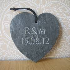 engravable wedding gifts engraved slate wedding gift heart by letterfest engraving