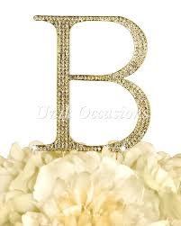 b cake topper gold unik occasions rhinestone letter b large cake topper